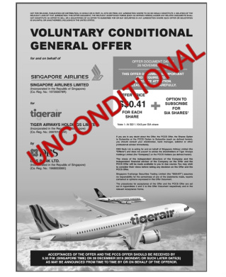 SIA's offer for Tigerair now unconditional